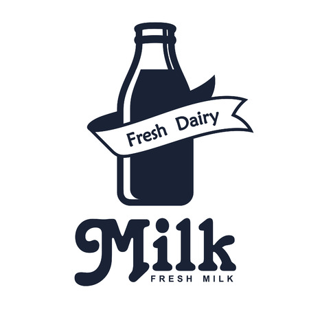 rich in vitamins: Set of labels and icons for milk