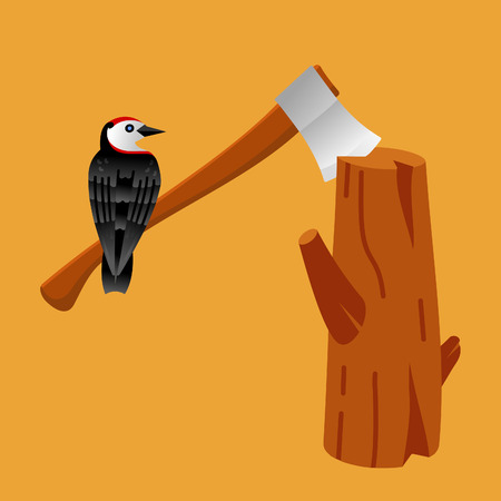 lumber: Lumber with tools and attributes:  woodpecker, axes, stamps and trees. Flat vector colorfool design.