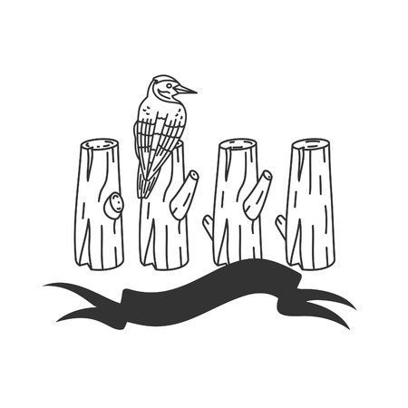 lumber: Lumber with tools and attributes:  woodpecker, axes, stamps and trees. The silhouette and linear vector monochrome design.