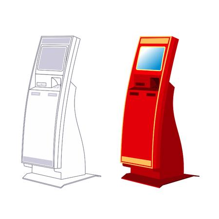 images linéaires et Vector vers le terminal de paiement fixe plat Vecteurs