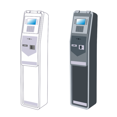 self operation: Linear and Vector images to the flat stationary payment terminal