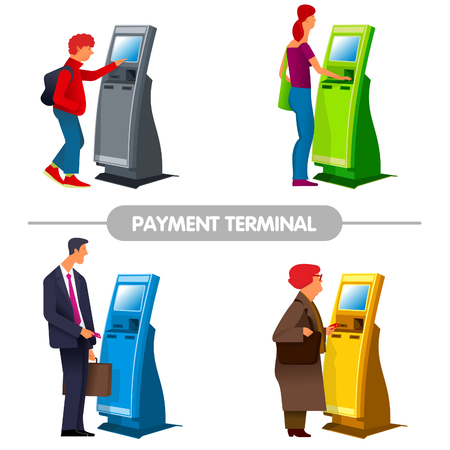 human touch: flat Vector images to the flat stationary payment terminal with a character - a businessman with a briefcase, a girl, grandmother-pensioner, Teen in sneakers with a backpack