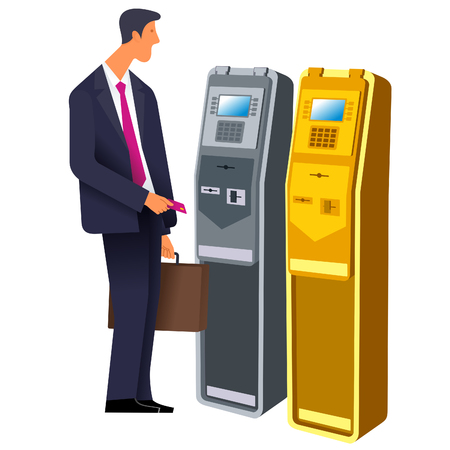 flat Vector images to the flat stationary payment terminal with a character - a businessman with a briefcase