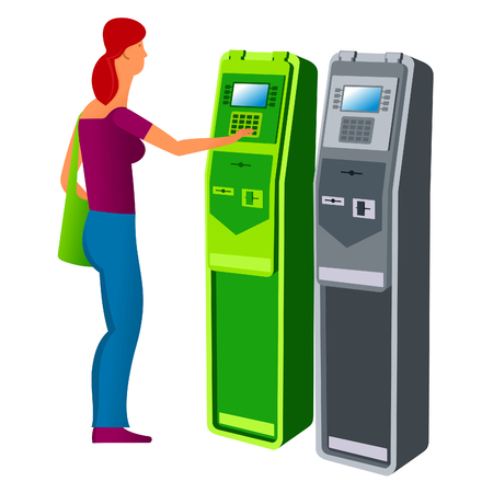 vector images: flat Vector images to the flat stationary payment terminal with a character - a girl