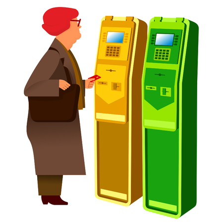 self operation: flat Vector images to the flat stationary payment terminal with the character - grandmother-pensioner