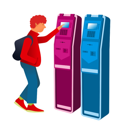 flat Vector images to the flat stationary payment terminal with the character - Teen in sneakers with a backpack