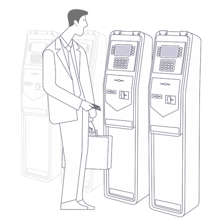 bank branch: flat Vector images to the flat stationary payment terminal with a character - a businessman with a briefcase