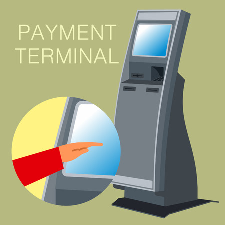 vector images: Linear and Vector images to the flat stationary payment terminal