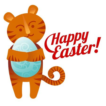 """Tiger cub: Ilustraci�n del vector con huevos pintados, cachorro de tigre y la etiqueta caligr�fica """"Pascua feliz"""""""