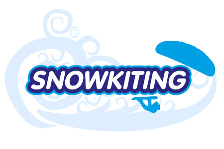 snowkiting: Vector Snow-kiting. Ryder, kite and snowboarding.