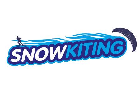 Vector Snowkiting. Ryder, kite and snowboarding. Vektorové ilustrace