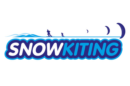 Vector Snowkiting. Ryder, kite and snowboarding.