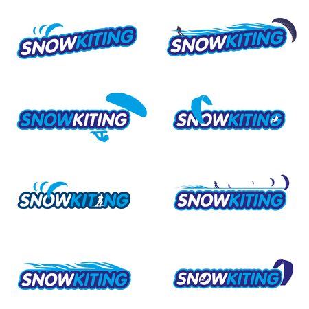 snowkiting: Vector set Snowkiting. Ryder, kite and snowboarding.