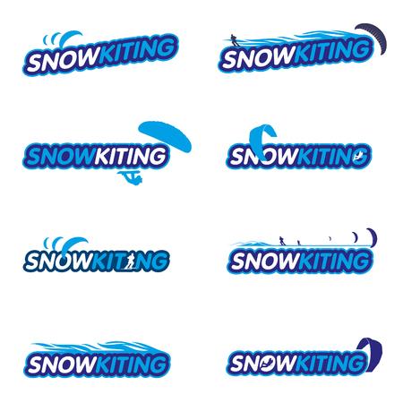 snowkiting: Vector set Snowkiting. Ryder, kite and snowboarding.