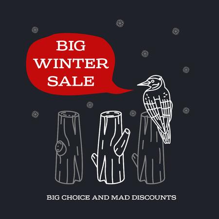 stiker: Winter sale background with pine stumps, woodpecker and banner. Sale stiker. Big Winter sale label. Christmas sale. New year sale. Vector illustration Illustration