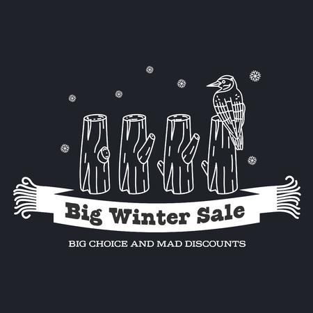 stiker: Winter sale background with pine stumps, woodpecker and woolen scarf banner. Sale stiker. Big Winter sale label. Christmas sale. New year sale. Vector illustration