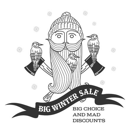 stiker: Winter sale background with lumberjack, woodpecker, woolen knitted cap, ax woodcutters and woolen scarf banner. Sale stiker. Big Winter sale label. Christmas sale. New year sale. Vector illustration