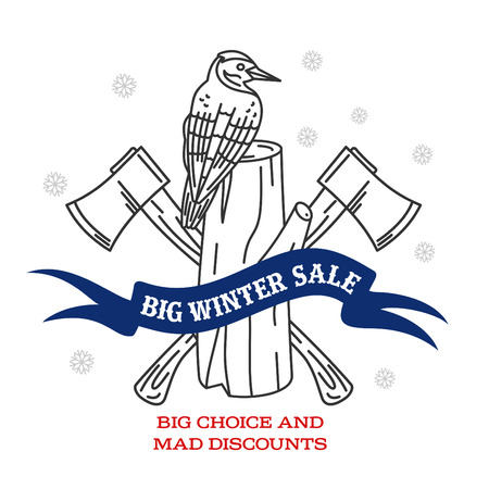 stiker: inter sale background with pine stumps, woodpecker, ax woodcutters and banner. Sale stiker. Big Winter sale label. Christmas sale. New year sale. Vector illustration