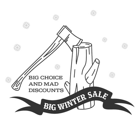 stumps: Winter sale background with pine stumps, ax woodcutters and banner. Sale stiker. Big Winter sale label. Christmas sale. New year sale. Vector illustration