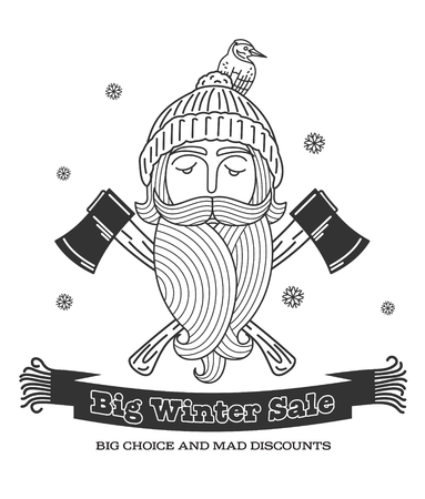 stiker: Winter sale background with lumberjack, woolen knitted cap, ax woodcutters and woolen scarf banner. Sale stiker. Big Winter sale label. Christmas sale. New year sale. Vector illustration