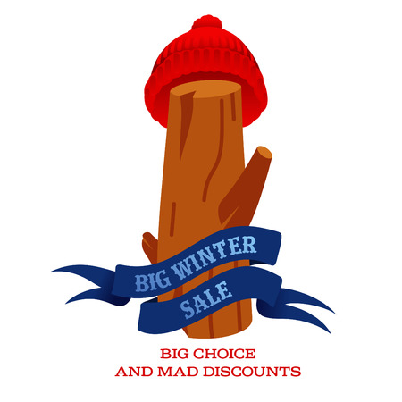 stiker: Winter sale background with pine stumps, woolen knitted cap and banner. Sale stiker. Big Winter sale label. Christmas sale. New year sale. Vector illustration