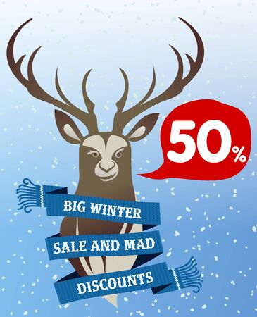stiker: Winter sale background with deer antlered and woolen scarf banner. Sale stiker. Big Winter sale label. Christmas sale. New year sale. Vector illustration