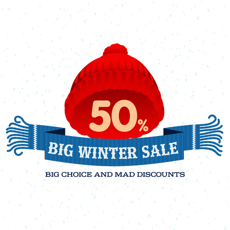 stiker: Winter sale background with woolen knitted cap and woolen scarf banner. Sale stiker. Big Winter sale label. Christmas sale. New year sale. Vector illustration