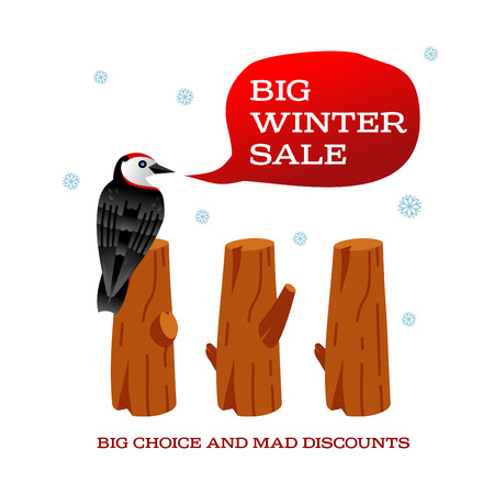 stumps: Winter sale background with pine stumps, woodpecker and banner. Sale stiker. Big Winter sale label. Christmas sale. New year sale. Vector illustration Illustration