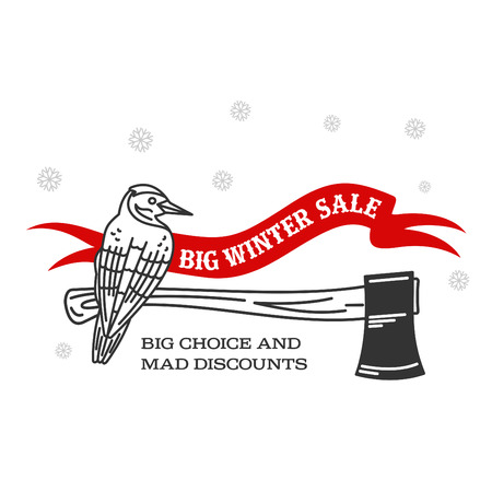 stiker: Winter sale background with woodpecker, ax woodcutters and banner. Sale stiker. Big Winter sale label. Christmas sale. New year sale. Vector illustration Illustration
