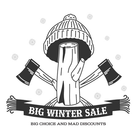 stiker: Winter sale background with pine stumps, woolen knitted cap, ax woodcutters and woolen scarf banner. Sale stiker. Big Winter sale label. Christmas sale. New year sale. Vector illustration Illustration