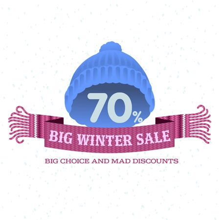 woolen: Winter sale background with woolen knitted cap and woolen scarf banner. Sale stiker. Big Winter sale label. Christmas sale. New year sale. Vector illustration