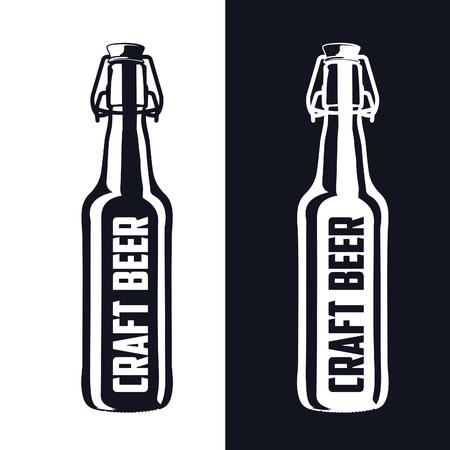 beer glasses: Vintage craft beer brewery, bar, shop emblems and  labels Illustration