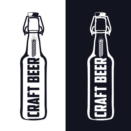 retro badge: Vintage craft beer brewery, bar, shop emblems and  labels Illustration