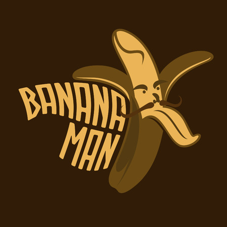 skeptic: Vector emblem. Funny cartoon banana. Illustration