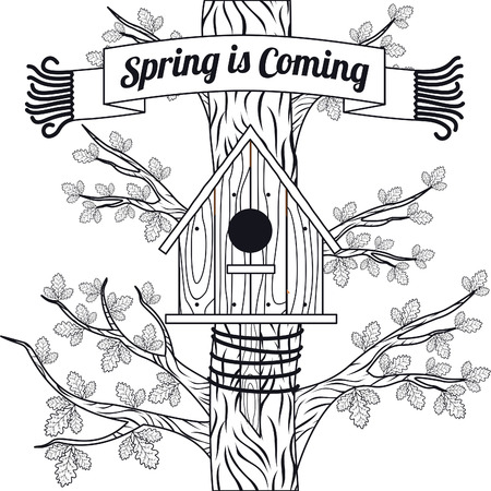 oak leaves: Spring vector card with oak, oak leaves and bird houses