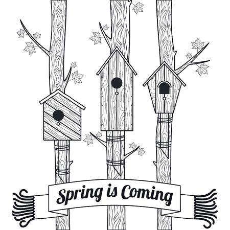 Scheda di vettore di primavera con acero, foglie di acero e case di uccelli Vettoriali