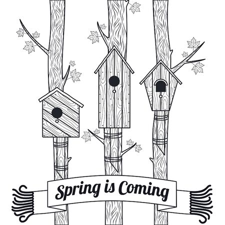 Spring vector card with maple, maple leaves and bird houses