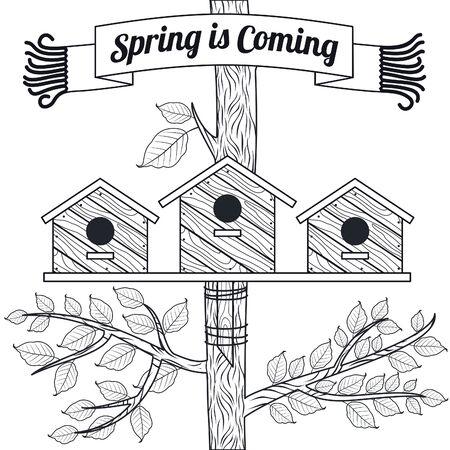 poplar: Spring vector card with poplar, poplar leaves and bird houses