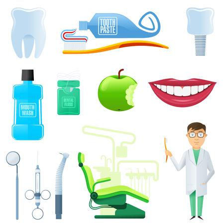 dental implants: Vector set into flat style on dental clinic: tooth, toothpaste, toothbrush, implant, dental floss, mouthwash, white-toothed smile, bitten apple, dental tools, dentist chair, dentist. Illustration