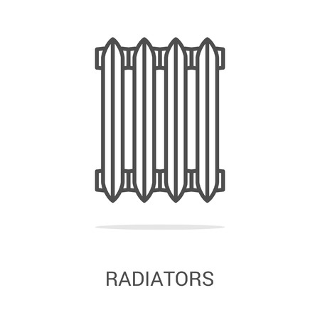 central heating: Vector icon radiators. Spare parts and household appliances for the kitchen, gas supply, water supply modern home. Illustration
