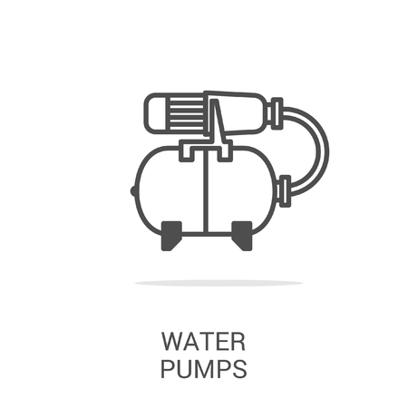 water supply: Vector icon water pumps. Spare parts and household appliances for the kitchen, gas supply, water supply modern home. Illustration