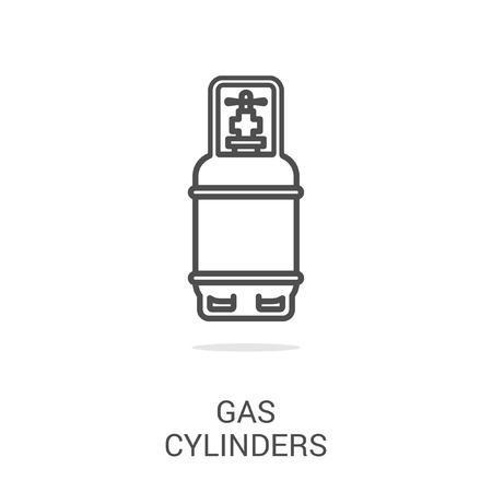 gas fireplace: Vector icon gas cylinders. Spare parts and household appliances for the kitchen, gas supply, water supply modern home.