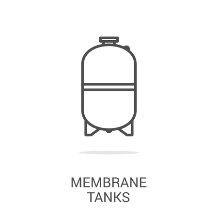 water supply: Vector icon membrane tanks. Spare parts and household appliances for the kitchen, gas supply, water supply modern home.