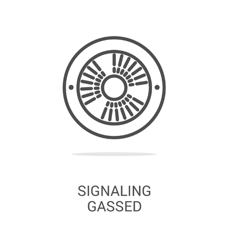 signaling: Vector icon signaling gassed. Spare parts and household appliances for the kitchen, gas supply, water supply modern home. Illustration