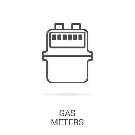gas meter: Vector icon gas meter. Spare parts and household appliances for the kitchen, gas supply, water supply modern home.