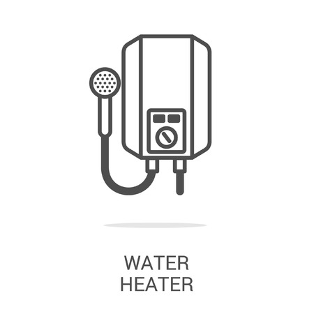 gas tap: Vector icon water heater. Spare parts and household appliances for the kitchen, gas supply, water supply modern home.
