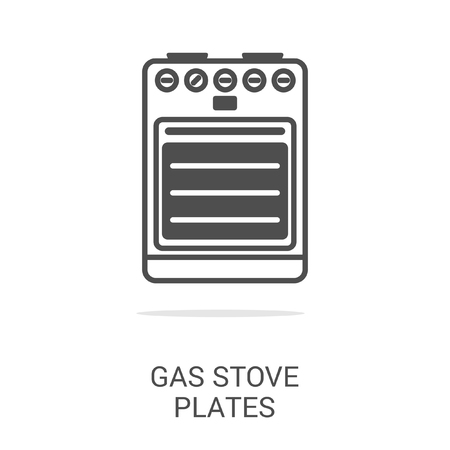 gas fireplace: Vector icon gas stove plates. Spare parts and household appliances for the kitchen, gas supply, water supply modern home.