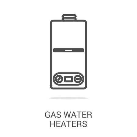 gas tap: Vector icon gas water heaters. Spare parts and household appliances for the kitchen, gas supply, water supply modern home.