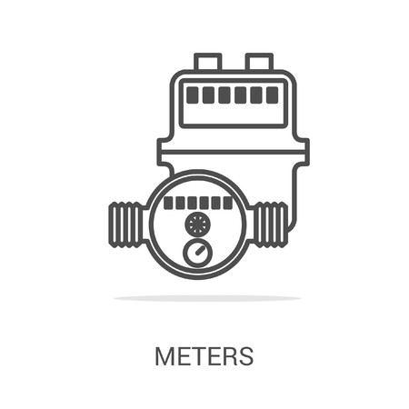 gas appliances: Vector icon gas and water meters. Spare parts and household appliances for the kitchen, gas supply, water supply modern home.