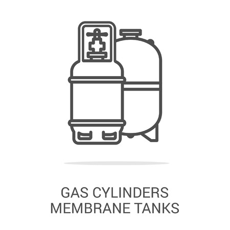 gas boiler: Vector icon gas cylinders membrane tanks. Spare parts and household appliances for the kitchen, gas supply, water supply modern home.